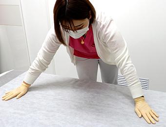 大宮マリアクリニックでは、施術ベッドの衛生管理も徹底