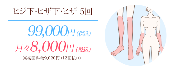 ヒジ下・ヒザ下・ヒザ医療脱毛セットプラン